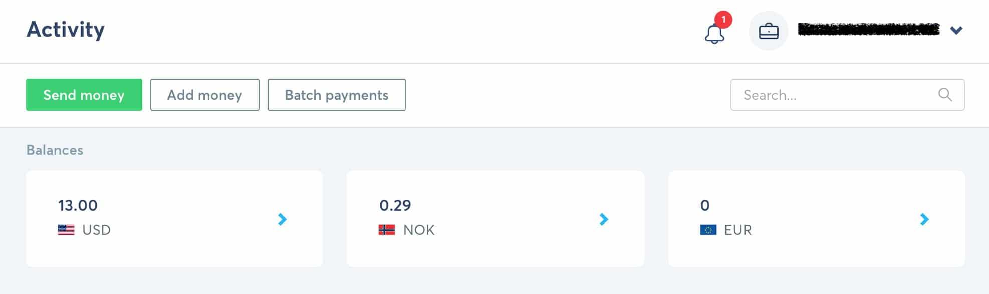 valutakonto transferwise eksempel